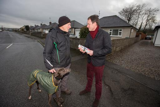 Minister of State Seán Sherlock, canvassing in Mallow, Co Cork. Photo: Mark Condren