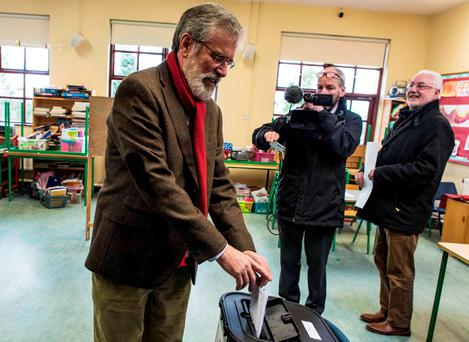 Sinn Féin leader Gerry Adams votes at Dulary National School in Ravensdale, Co Louth. Photo: Doug O'Connor