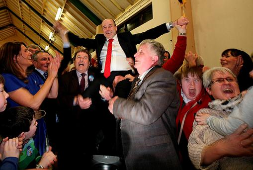 Election Count, Roscommon/Galway constituency. Independent Denis Naughten celebrates his win on first count. Photo: Brian Farrell