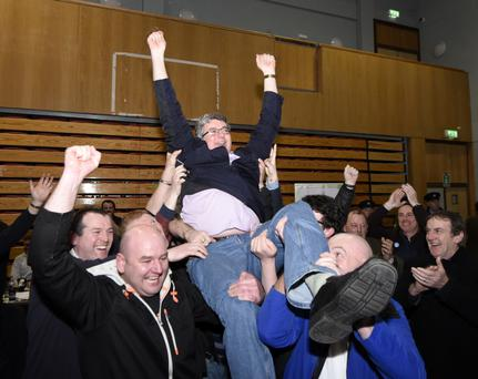 Thomas Pringle (Independent) celebrates after being elected in Donegal on the 13th count. Photo: Clive Wasson