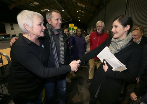 Bríd Smith (left) is congratulated by Catherine Ardagh after she took the final seat. Photo: Damien Eagers