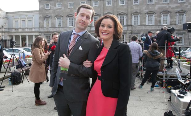 Top, newly elected TD Kate O'Connell and husband Morgan. Photo: Collins