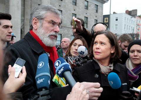 Gerry Adams and Mary Lou McDonald meet the media on O'Connell Street, Dublin. Photo: Tom Burke