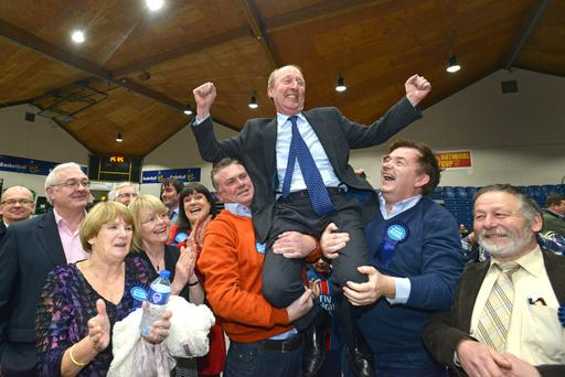 DECLARATION OF INDEPENDENCE: Shane Ross celebrates being elected to the Dublin Rathdown constituency at the count center in Tallaght yesterday. Shane was the first candidate to be elected in this General Election. Photo: Barbara Lindberg.