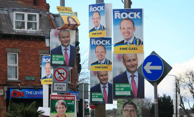 Election placards in Glasnevin, Dublin. Photo: Collins