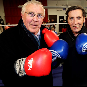 Former Lord Mayor of Dublin Christy Burke is the latest candidate to land a celebrity endorsement – singer Christy Dignam of Aslan. Photo: Steve Humphreys