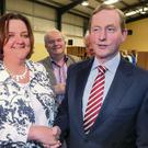 FG's Gabrielle McFadden with Enda Kenny at the Longford/Westmeath count. Photo: Damian Eagers