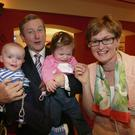 FG candidate Mairead McGuinness with Taoiseach Enda Kenny and some young supporters