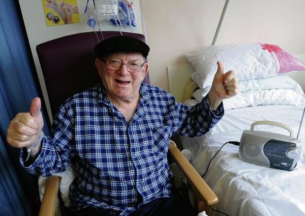 2014: Jackie Healy-Rae shows his support from Kerry General Hospital.