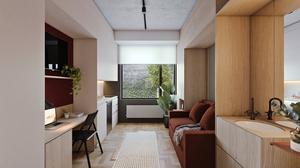 An image of the interior of one of the rooms in the planned Bartra Capital shared co-living 111-bed space proposal for Merrion Rd, Ballsbridge, Dublin.