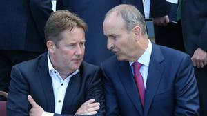 Talking shop: Housing Minister Darragh O'Brien and Taoiseach Micheál Martin, pictured in Malahide in 2018. Photo: Maxwells
