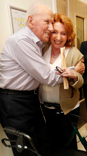 Kathleen Lynch with patient Thomas Reilly (96) from Howth, Co Dublin, yesterday Photo: RollingNews.ie