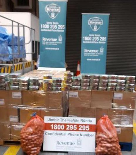 The seizure was made following the search of a container which had arrived from Rotterdam. Photo: Revenue.