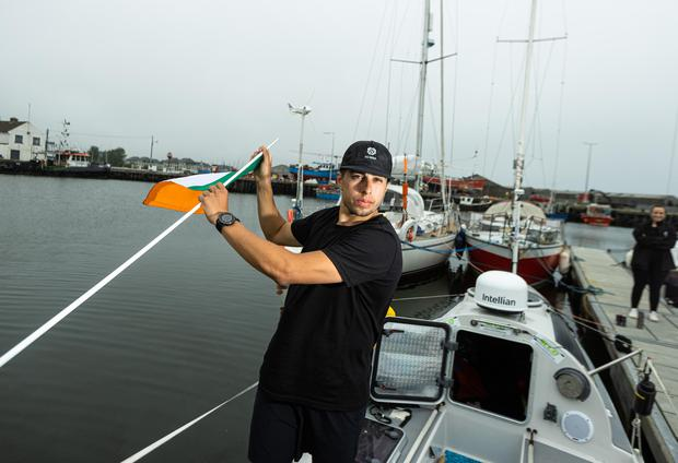 Ryan Davin from Gorey, Co Wexford leaving Arklow for Wales after he ran from Dublin.Photo: Mark Condren