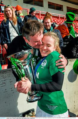 Ireland captain Niamh Briggs celebrates with her father Mick. Photo: Stephen Mccarthy