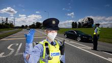 Checkpoint: Gardaí on the approach to Naas, Co Kildare, this week