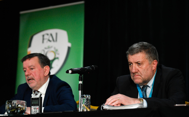 Under fire: FAI executive lead Paul Cooke (right) and president Donal Conway at the AGM at the Citywest Hotel, Dublin. Photos: Ramsey Cardy/Sportsfile