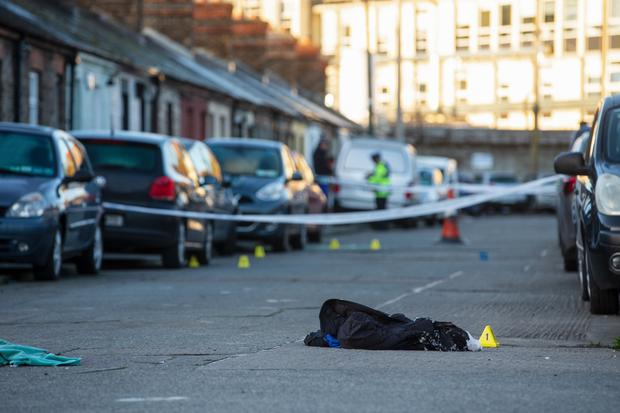 The scene of the shooting incident on Eugene Street in The Coombe area of Dublin. Photo: Gerry Mooney