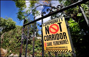 Protest: A sign on one of the residential gates on the Rathfarnham Road.  Photo: Steve Humphreys