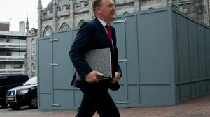 Public Expenditure Minister Michael McGrath arrives for a cabinet meeting in Dublin Castle, where the Covid response was discussed. Photo: Gareth Chaney/Collins