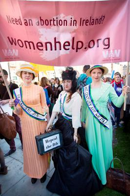 SUFFRAGETTE CITY: Mary McGill, Boin De and Sarah O'Toole travelled up from Galway to take part in the the pro-choice rally in Dublin yesterday