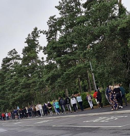 People queuing for a walk-in vaccination centre. Photo: Brian MacCraith/ Twitter