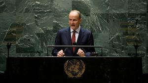 Taoiseach Micheál Martin addresses the United Nations General Assembly in New York last week. Picture by Peter Foley/Reuters