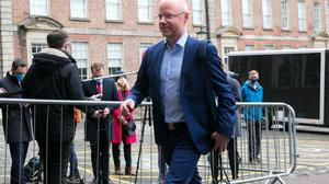 Dr Tony Holohan toldHealth Minister Stephen Donnelly (pictured outside Dublin Castle) last week there is still a risk of a further spike in cases. Photo: Gareth Chaney/Collins