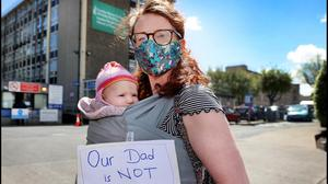 Katie Smyth and her daughter Jill were amongst a group of parents representing the Association for the Improvements in the Maternity Services who staged a protest outside The Coombe Women and Infants University Hospital earlier this year. Photo by Steve Humphreys