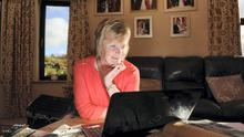 Mary O'Connor Skypes her children at her home in Glenbeigh, Co Kerry this week. Photo: Don MacMonagle