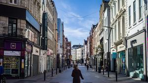 An almost deserted Grafton Street, Dublin, during the first Covid-19 lockdown in April 2020. Photo: Douglas O Connor