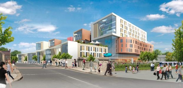 An artist's impression of the new paediatric hospital at St James, in Dublin