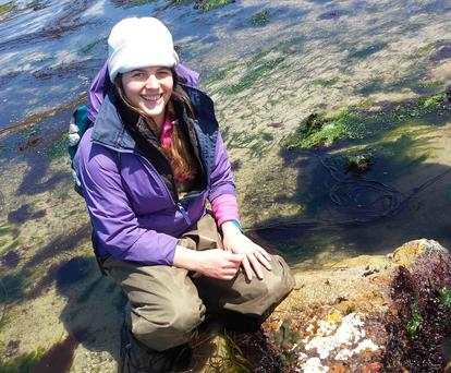 Dr Grace McCormack, zoologist at NUI Galway, with some marine sponges