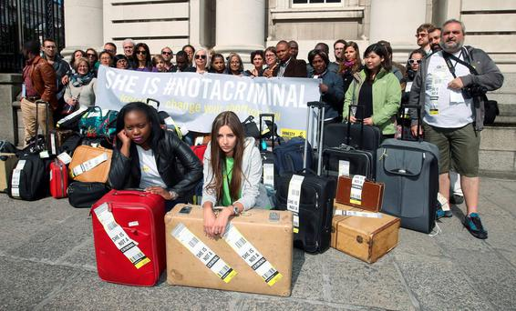 Maureen Gombakomba, from Zimbabwe, and Olga Bezverkha, from Ukraine, lead the Amnesty International protest over our abortion laws outside the Department of the Taoiseach yesterday