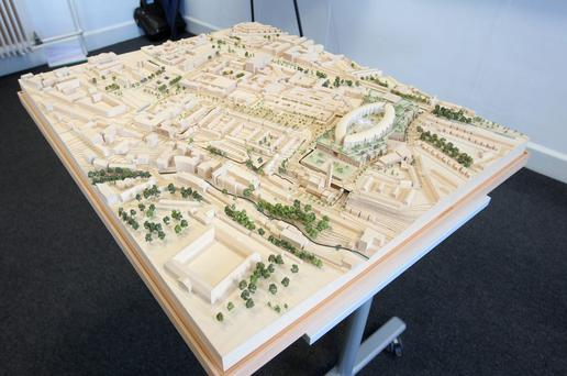 A model of the new children's hospital on a shared campus with St James's Hospital