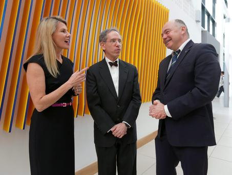 Dr Kenneth Offit (centre) speaks to Dr Jennifer Westrup, medical director at the Beacon Hospital and UCD president, Professor Andrew Deeks, and before the annual O'Brien science lecture, at the UCD O'Brien Centre for Science, Dublin