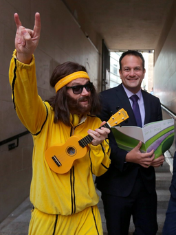 Johnny from the 'Think Johnny' TV campaign, with Health Minister Leo Varadkar