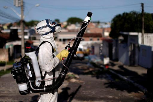 A council worker in protective gear sprays insecticide to kill mosquitoes in Recife, Brazil. Photo: Reuters