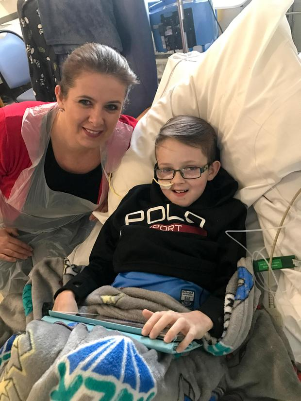 Maria Coyne at the Freeman Hospital in Newcastle, England with, her son Gavin