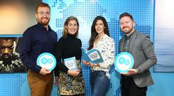 Pictured (l-r) at yesterday's launch are Ronan Costello, public policy Twitter; Arlene Regan, marketing manager Independent.ie; Karen White, director public policy Twitter and Ian Power, executive director of SpunOut.ie.