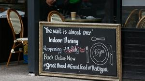A sign outside a restaurant in Rathgar, Dublin, as representatives from the hospitality sector are to hold another meeting with Government officials about the reopening of indoor dining. Photo: Brian Lawless/PA Wire