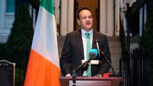 Taoiseach Leo Varadkar at Blair House, Washington DC, during a press conference where he announced that all schools, colleges and childcare facilities in Ireland will close until March 29 as a result of the Covid-19 outbreak.