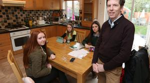 Adrian Millar and his daughters Aisling (16), Rebecca (15) and Ciara (10)