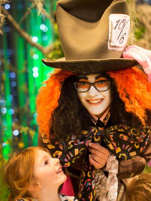 Orla Quinn (5) with the Mad Hatter, at the Dublin Garden Festival, in Christ Church Cathedral, on its final day yesterday