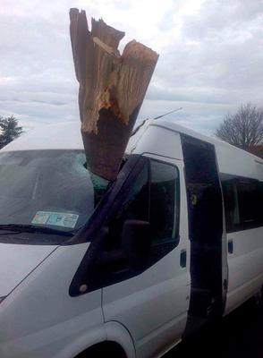 The plank of wood which crashed through a school bus windscreen near Killea, Co. Donegal. Photo: Declan Doherty