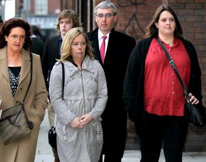 Family: Celine Cawley's sister Susanna, sister-in-law Sorcha, her brother Chris and her daughter Georgia during a court hearing related to the case.