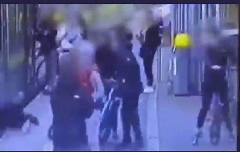 The incident was caught on CCTV