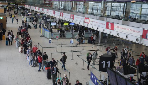 Busy departures area of Dublin Airport as people return to foreign travel. Picture; Gerry Mooney