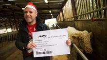 GRASS IS GREENER: John Carmody from Animal Rights Action Network (ARAN) presenting Benjy The Gay Bull with a 'One way ticket to freedom' yesterday. Photo: Keith Heneghan