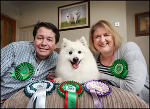 James and Imelda Wade with their Japanese Spitz 'Bundy